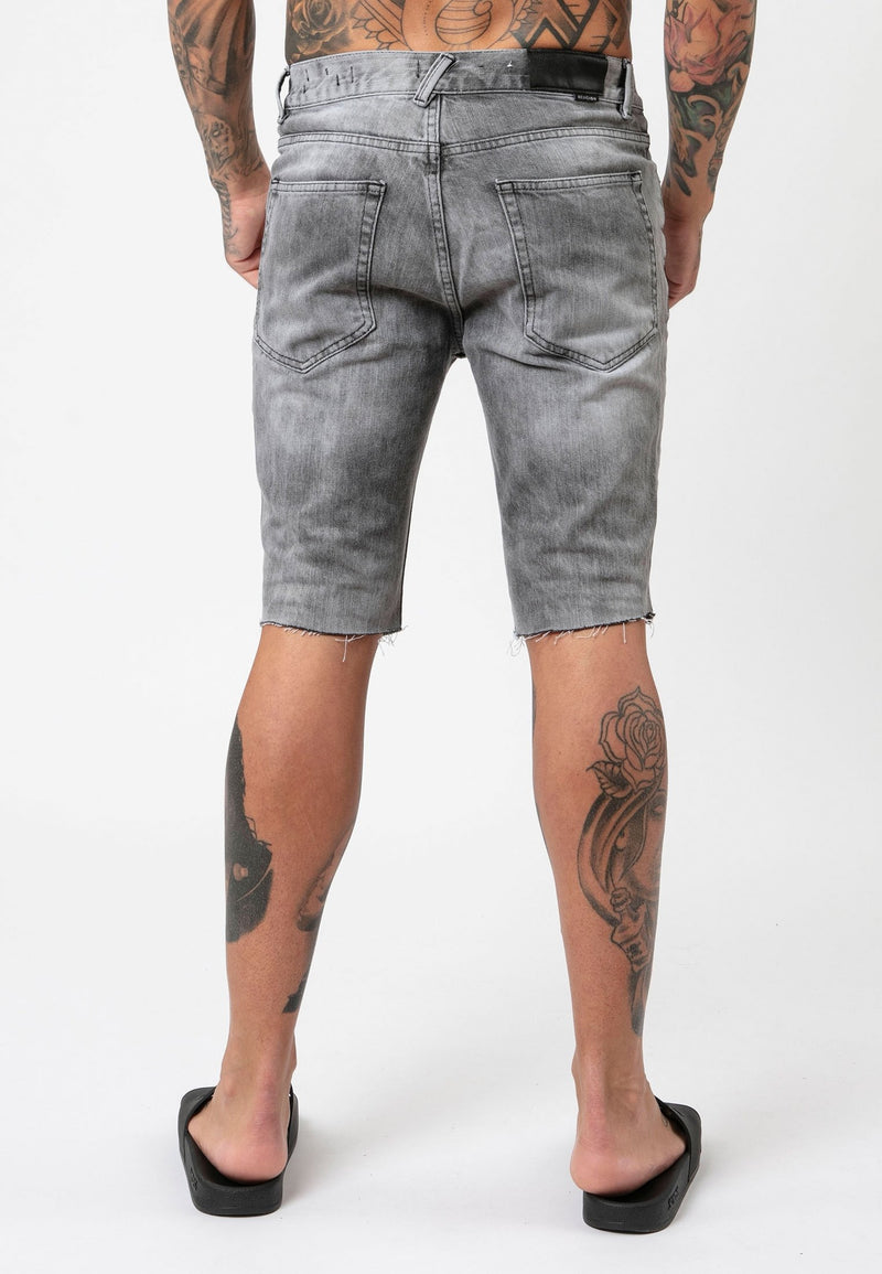 RELIGION Distressed Slashed Grey Veins Shorts