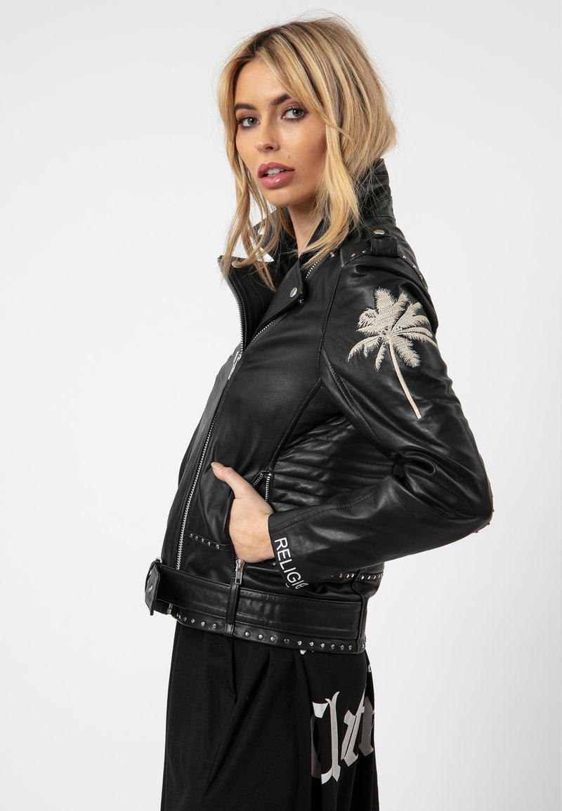 RELIGION Stellar Biker Black Leather Jacket