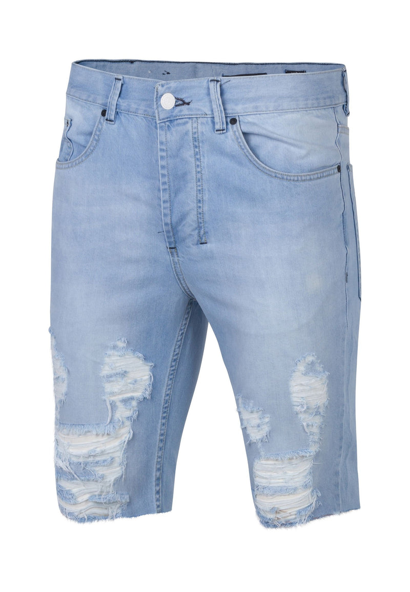 RELIGION Distressed Slashed 80's Blue Shorts