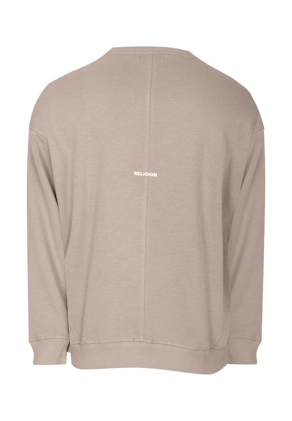 RELIGION Plain Oversized Taupe Sweatshirt