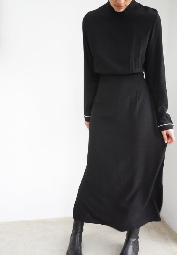 vRELIGION Centre Backless Black Midi Dress