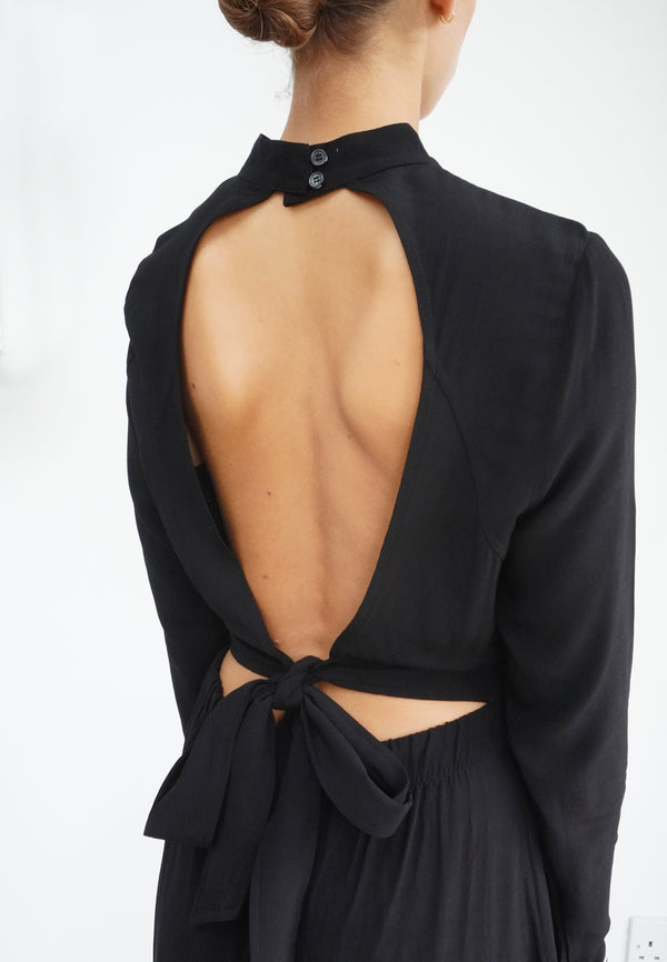 RELIGION Centre Backless Black Midi Dress
