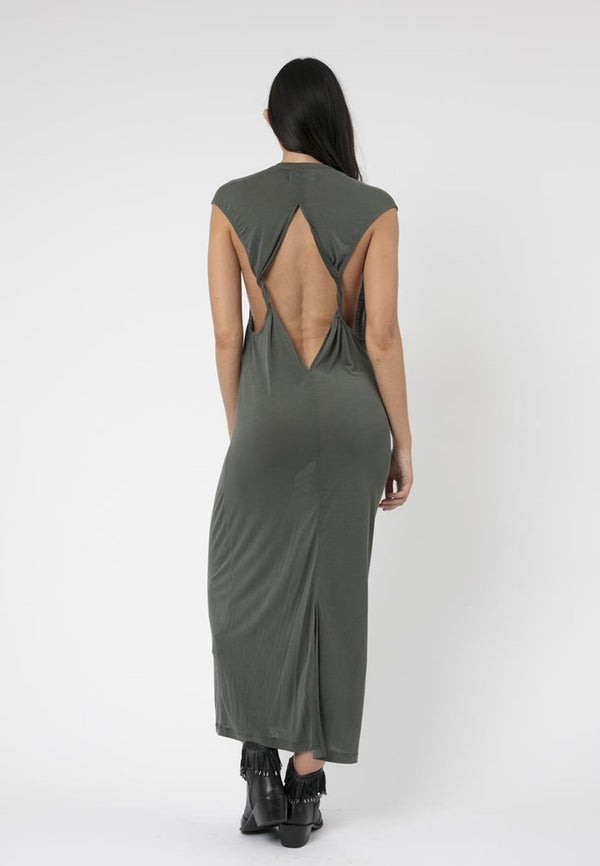 RELIGION Pegasus Khaki Maxi Dress
