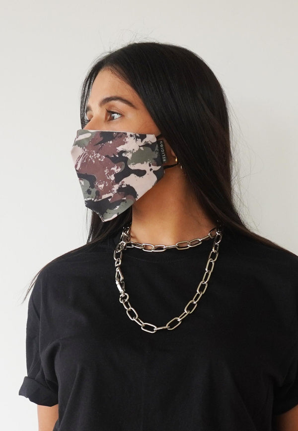 RELIGION Face Mask Camo Print
