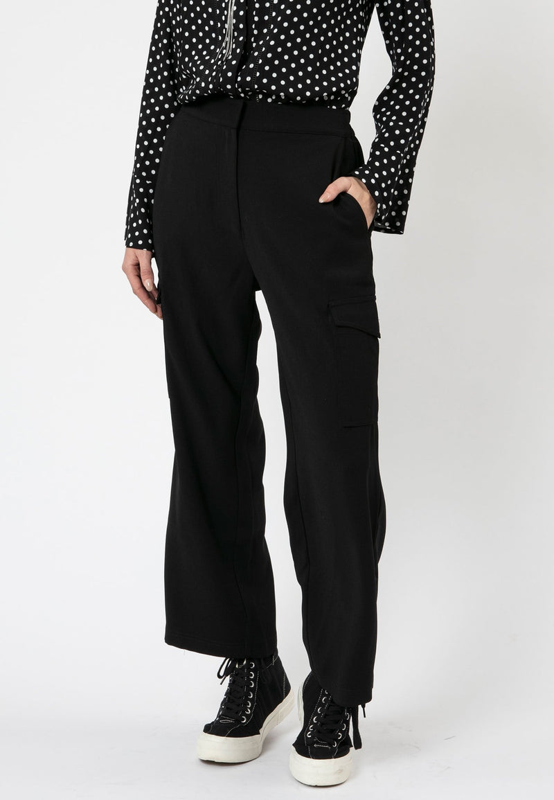 RELIGION Mars Wide Leg Black Trousers