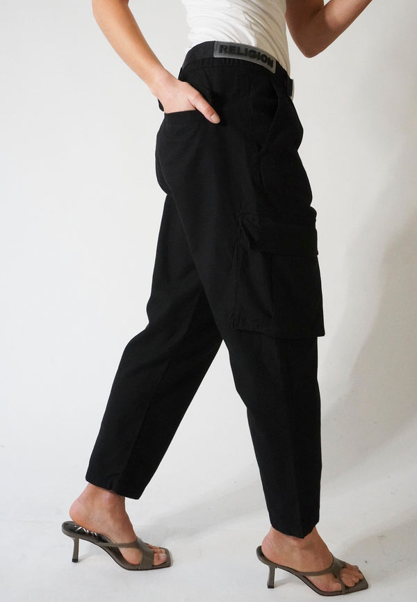 RELIGION Destruct Oversized Black Cargo Pants