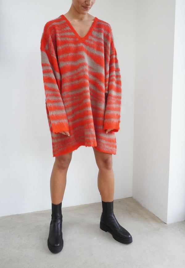 DIVISION JUMPER DRESS RED & CAMEL