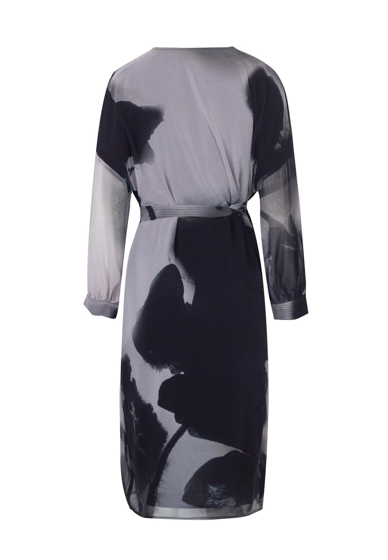 RELIGION Saturn Abstract Print Grey Wrap Dress