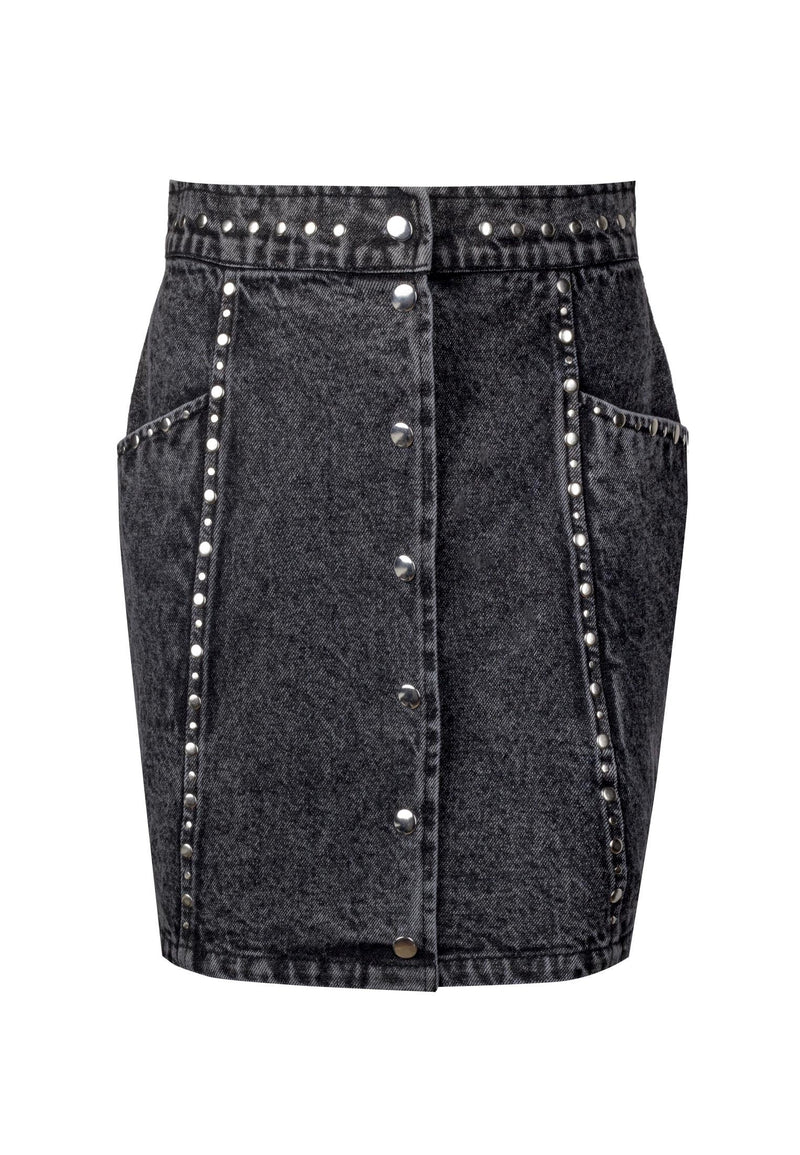 RELIGION Motive Denim Skirt Washed Black