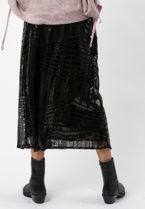 RELIGION Season Black Sequin Skirt