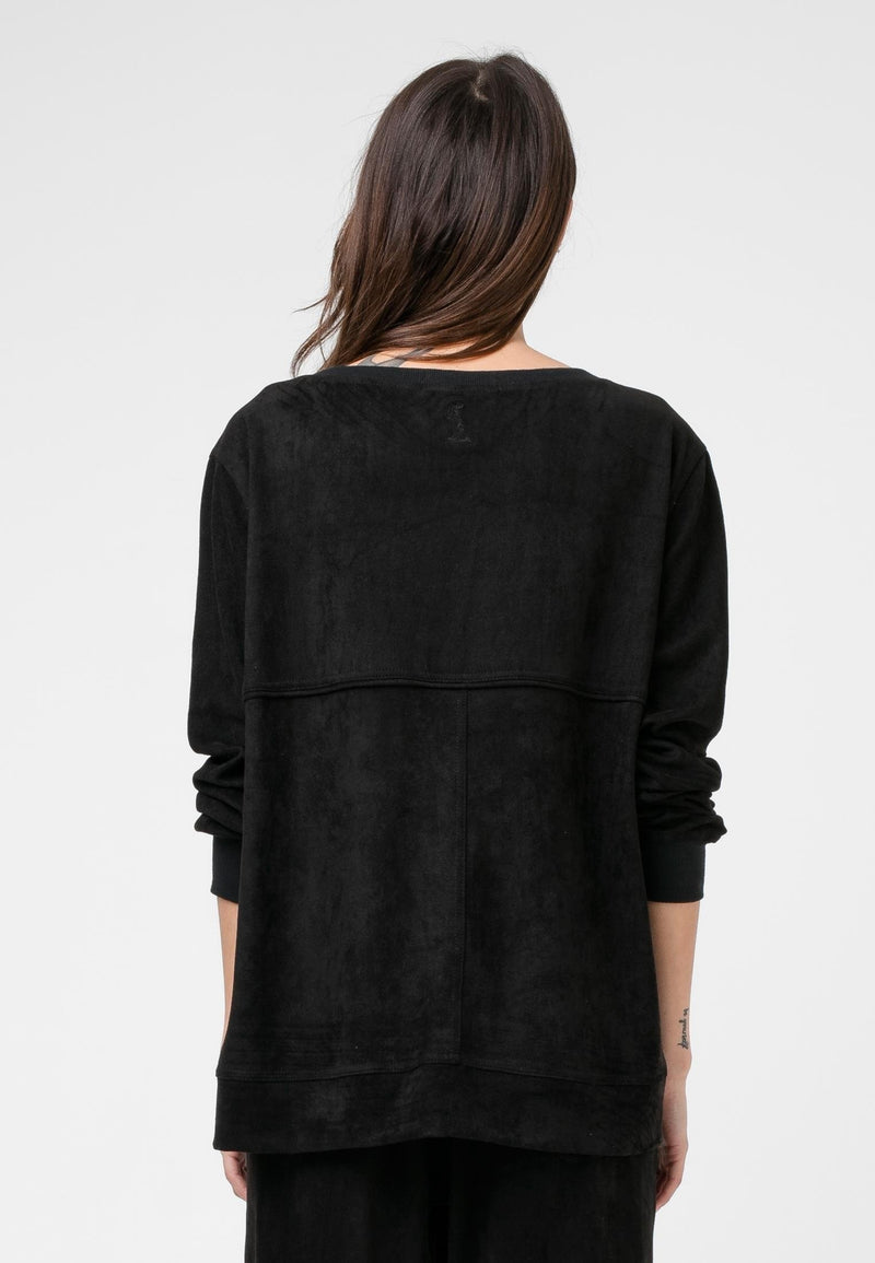 RELIGION Ethos Jumper Black Faux Suede