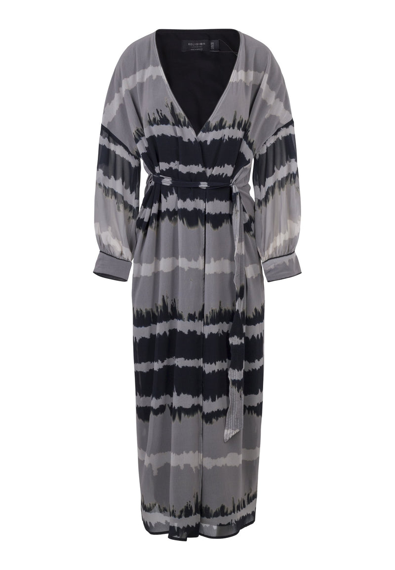 RELIGION Silence Wrap Maxi Dress Edge Print