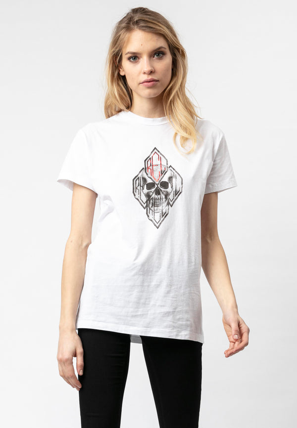 RELIGION Diamond Skull White Boyfriend T-Shirt