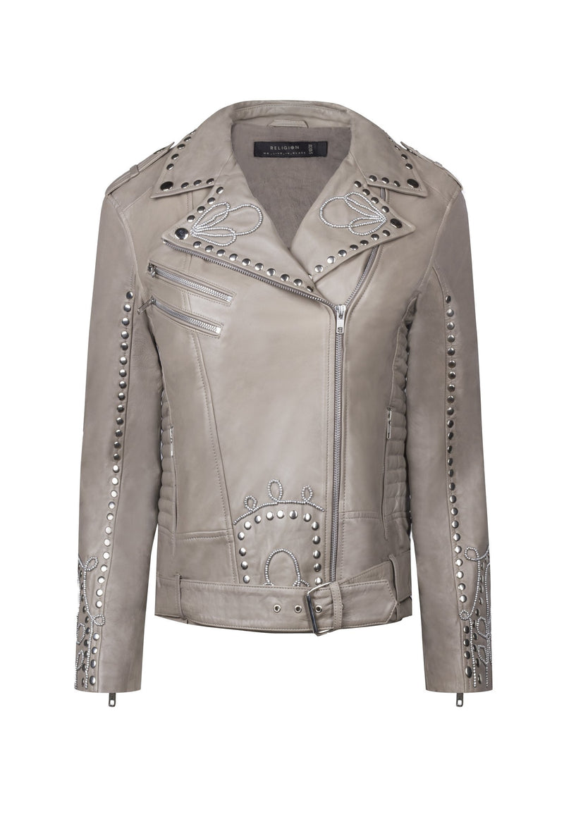 RELIGION Excellent Biker Leather Jacket Flint