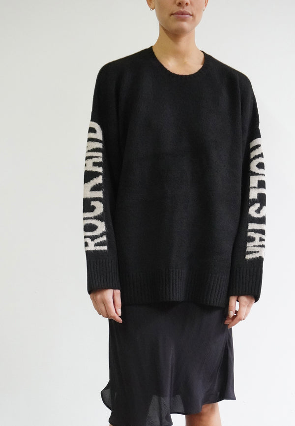 RELIGION Rock N Roll Text Graphic Black Jumper