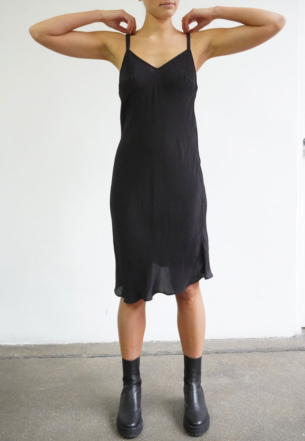 RELIGION Streak Vegan Silk Black Dress