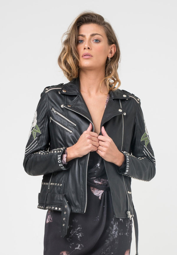 RELIGION Blush Biker Leather Jacket