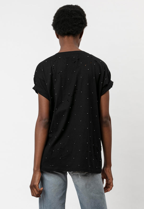 RELIGION Beach All Over Beading Black T-Shirt