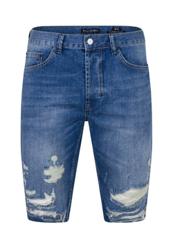 RELIGION Slashed Shorts Washed Blue
