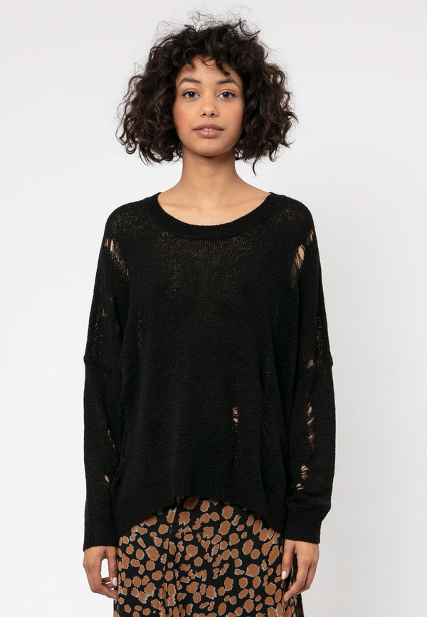 RELIGION Bloom Relaxed Black Jumper