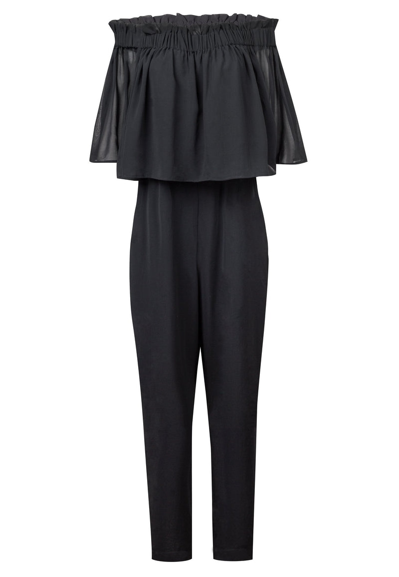 RELIGION Wide Leg Black Storm Jumpsuit