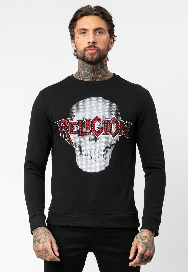RELIGION Skeleton Bling Black Sweat