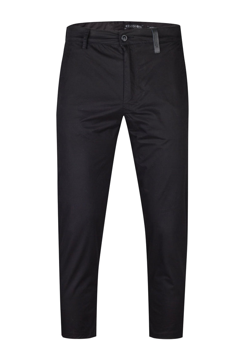 RELIGION Sharp Black Chino Trousers