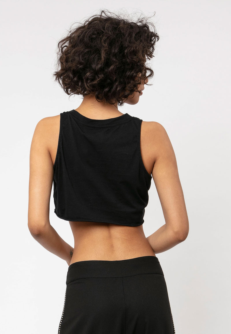 RELIGION Bare Crop Graphic Black Top