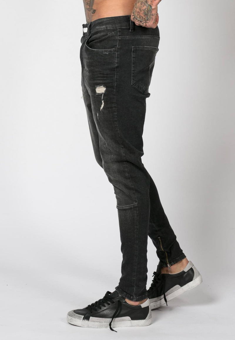 RELIGION Edge Dropped Crotch Black Jeans