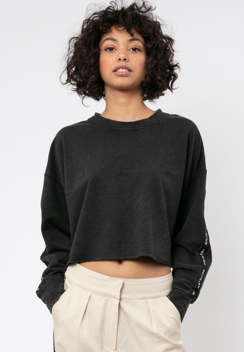RELIGION Alive Cropped Black Sweatshirt