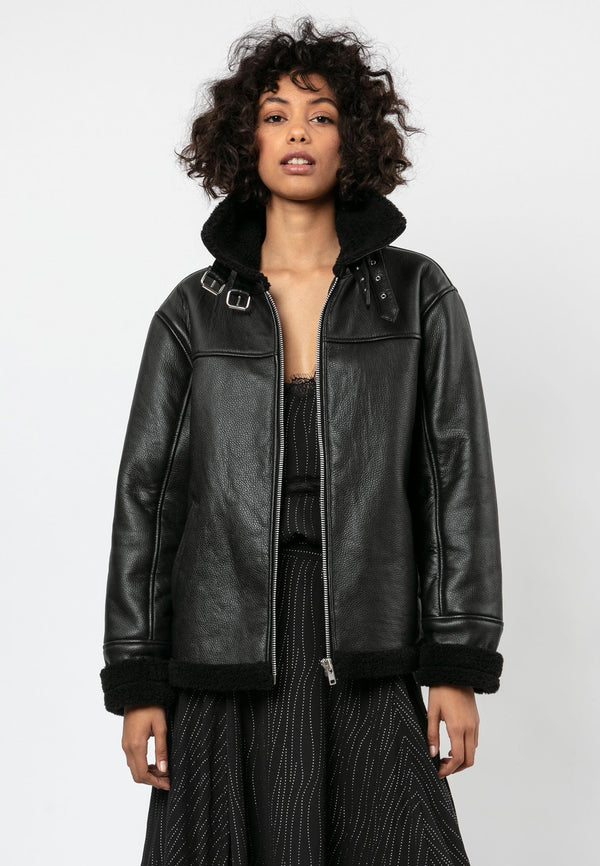 RELIGION Black Pilot Leather Faur Fux Jacket