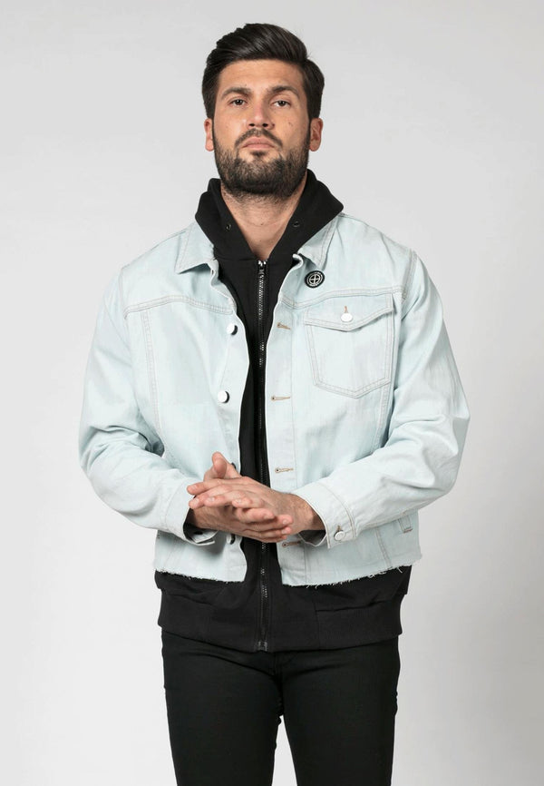 Religion Hooded Blue Denim Jacket