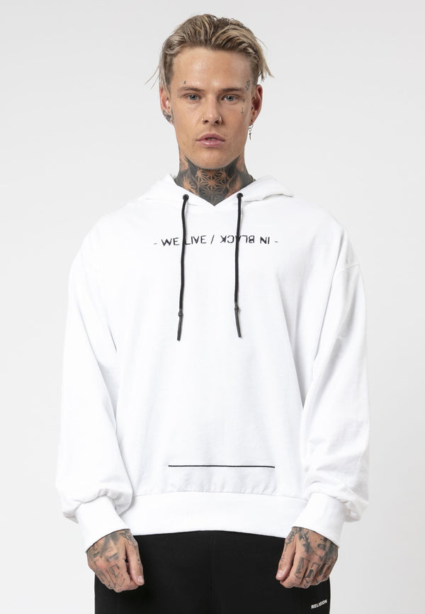 RELIGION In Black Oversized White Hoodie