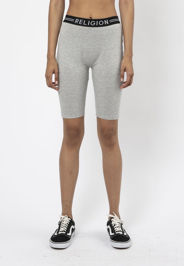 RELIGION Steady High-Waisted Grey Cycling Shorts