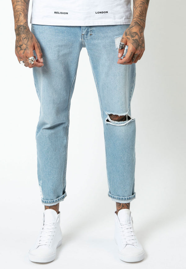 RELIGION Kick Straight Leg Cut Blue Jeans