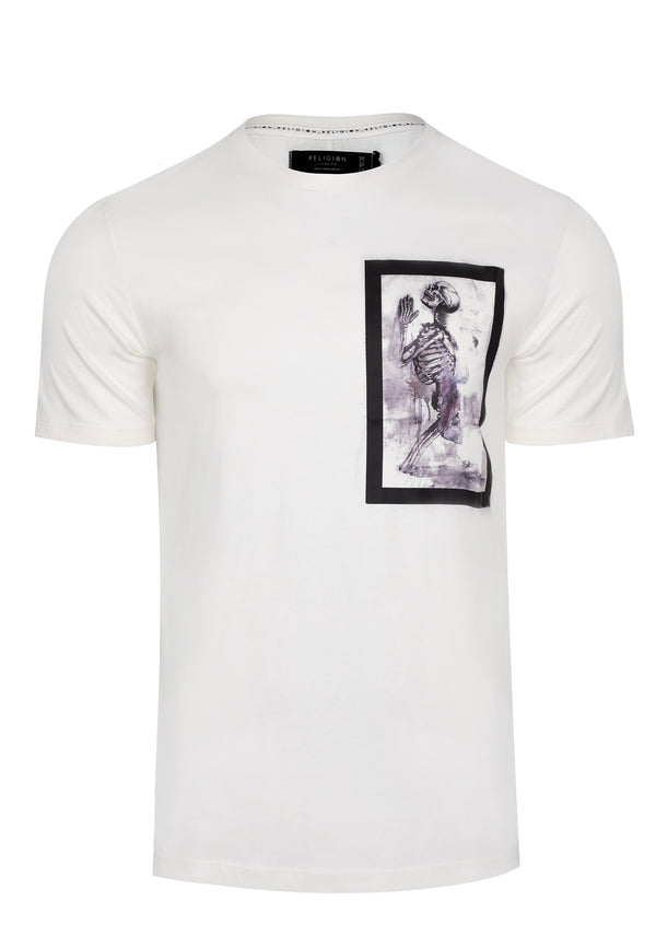 RELIGION Skeleton Paint Bondage White T-Shirt