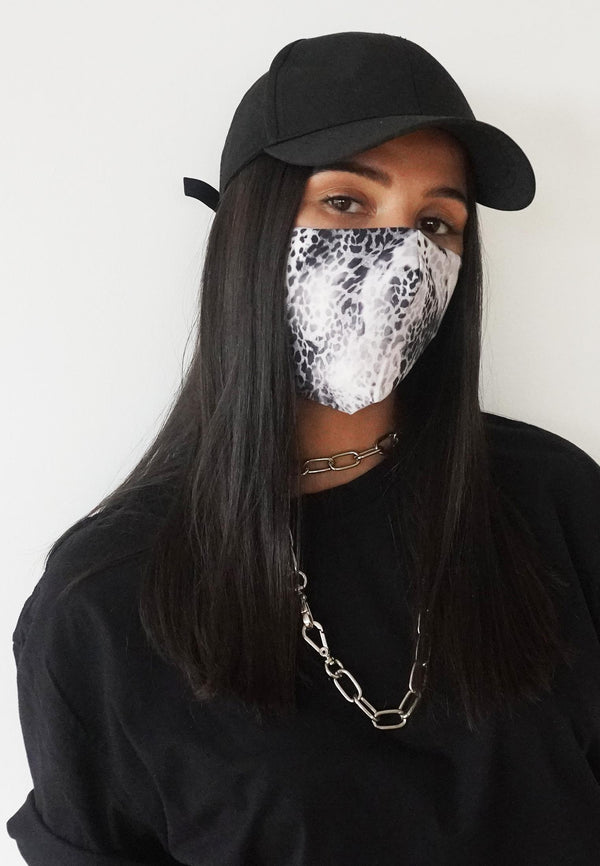 RELIGION Face Mask Snake Print Black