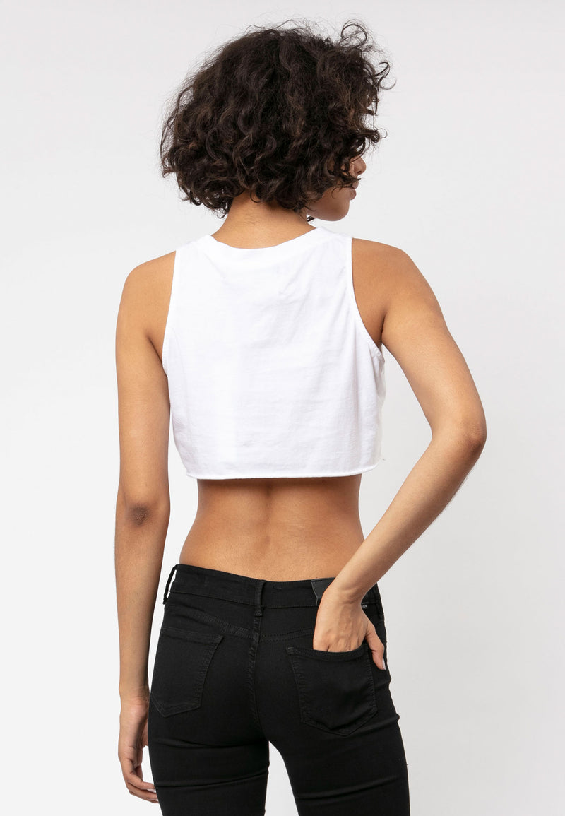 RELIGION Bare Crop Graphic White Top