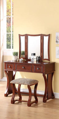 Rustic Style Vanity Set with Stool
