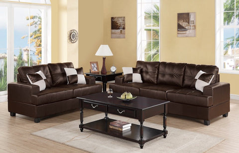 Tufted Leather Sofa and Loveseat
