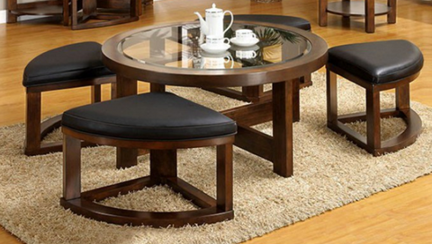 Crystal Cover Coffee Table & Stools