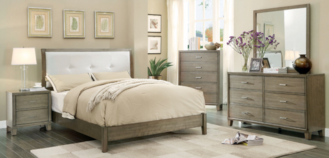 Rustic Grey Tone Bedroom with White Faux-Leather Headboard