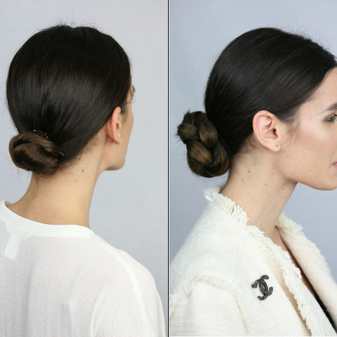 Before and After Brown haired woman with small bun in white shirt and with a braided bun wearing a Chanel cream jacket wearing Easy Updo Extensions