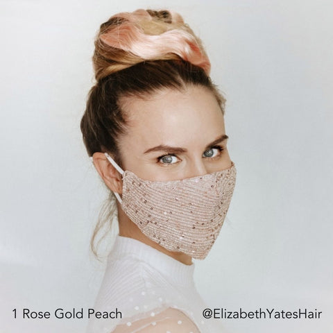 Blonde @ElizabethYatesHair Rose Gold Peach Topknot Hairstyle Glitter Mask Easy Updo Extensions