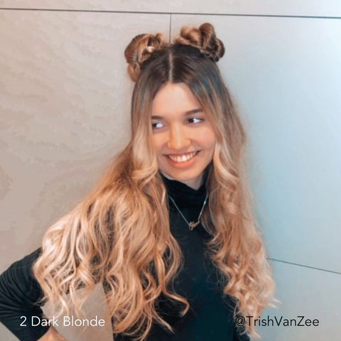 Half Up, Half Down Hairstyle of Space Buns and Double Buns using Easy Updo Extensions