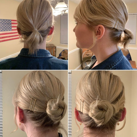 Short Fine haired woman showing before after hair using 1 easy updo extension in a low bun