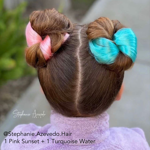 Vibrant Color Hair Extensions in a Double Space Bun