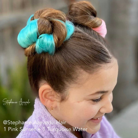 Turquoise and Pink Hair Space Buns Double Buns on Little Girl