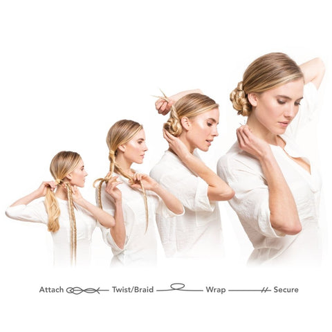Model showing how to attach, twist or braid, wrap and secure Easy Updo Extensions with white background wearing white shirt