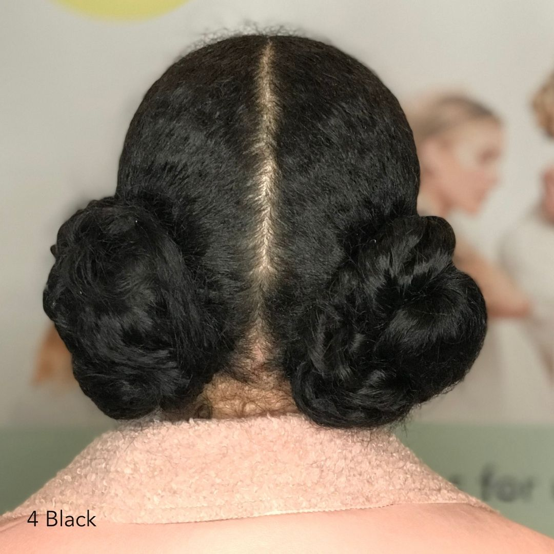 Black Double Bun After Easy Updo Extensions